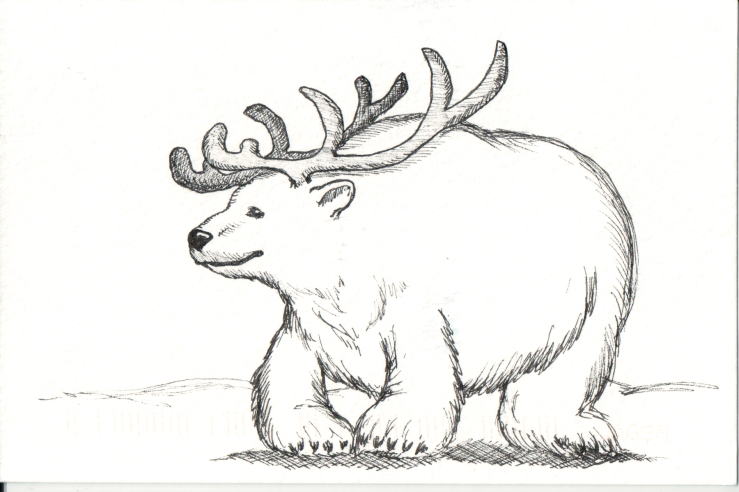 bear with reindeer antlers