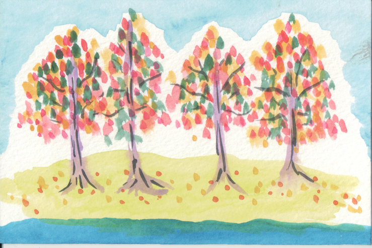 Multi-coloured trees with colourful leaves