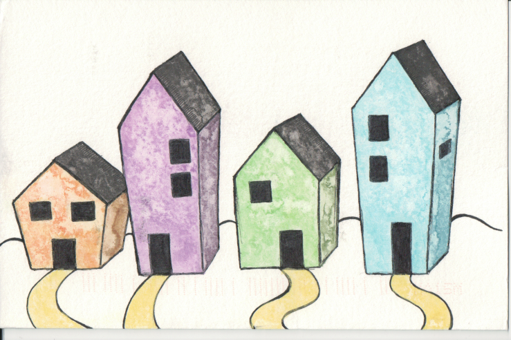 A row of different houses with different colours