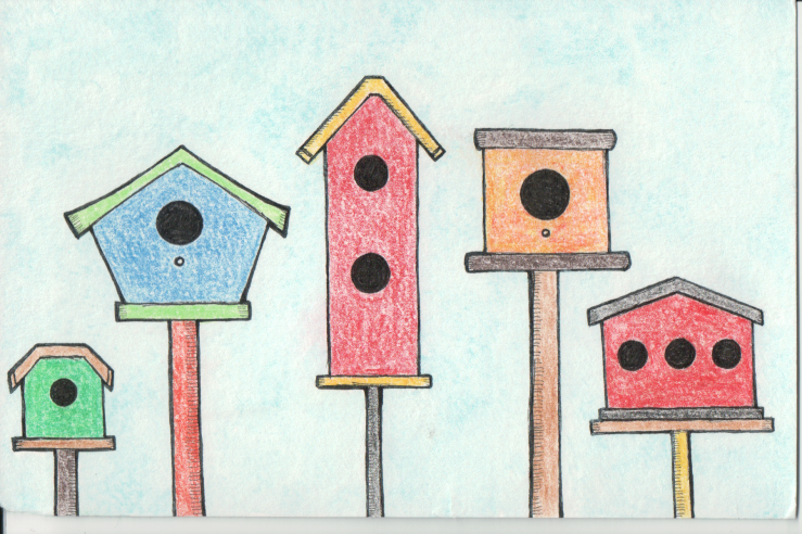 Birdhouses of different colours, shapes, and sizes